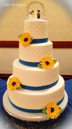 Sunflowers and dots wedding cake @Jennifer Milsaps Schultz