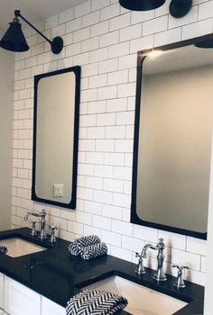 Black and white subway tile Restoration Hardware mirrors and lighting Vanity Countertop, Countertops, Restoration Hardware Mirror, Black And White Office, White Subway Tiles, Black Mirror, Commercial Interiors, Service Design, Design Projects