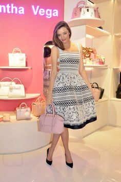 Miranda Kerr wearing  Vatanika SS16  Guipure Lace Dress, Swarovski Duo Evil Eye Bangle
