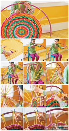 Weaving with a hula hoop; use a stripped sheet or other cotton fabric strips; find a smaller hula hoop; cut notches for base strips to stay in place; No more hour-glass weaving projects! -use old T shirts Kids Crafts, Crafts To Do, Arts And Crafts, T Shirt Crafts, Crafts With Yarn, Plastic Bag Crafts, Plastic Bags, Creative Crafts, Fabric Crafts
