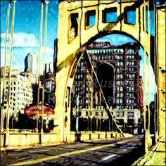 Pittsburgh Bridge  Altered Polaroid Photography Photo 8x8 matted  to 12x12