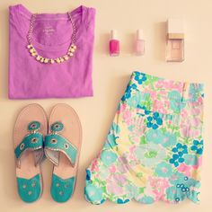 Lilly buttercup shorts, violet Jcrew tee, Jack Rogers love love love lilly #myfithero www.myfithero.com