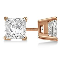 2ct Diamond Solitaire Earrings 18Kt Rose Gold Modern Princess Cut HI SI ** You can get additional details at the image link.