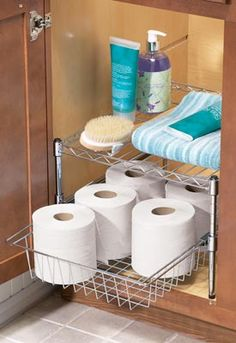 Storage for the bathroom: love that the wire rack keeps it looking fairly open unlike the white shelves...