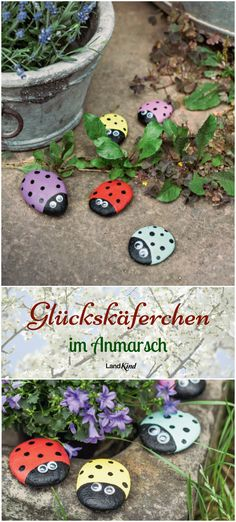 Landkind Spezial Basteln & Deko – Frühling Paint stones is fun for all ages. There are so many great ways, depending on your talent, to design small or large works of art. We brought simple but funny beetles to life. Decor Crafts, Diy And Crafts, Arts And Crafts, Diy For Kids, Crafts For Kids, Spring Painting, Valentine Day Crafts, Spring Crafts, Stone Painting
