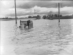 Stranded in a flooded Hawkesbury half way between McGraths Hill and Windsor, 1942 Local History, Family History, Time In Sydney, Photo Search, The Old Days, Sydney Australia, South Wales, Back In The Day, Vintage Images