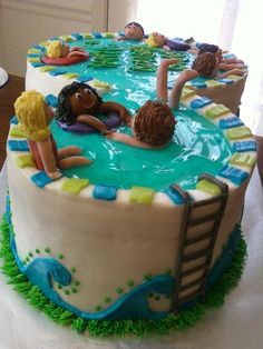 The swimmers on this cool pool cake look like they're having a blast. Where was our invite to the party? Pool Party Cakes, Pool Cake, Pool Party Kids, Kid Pool, 8th Birthday, Birthday Cakes, Birthday Ideas, Cake Craft, Candy Table