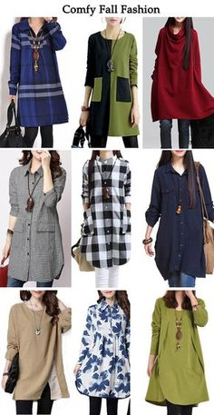 Comfy Fall Fashion, Comfy Fall Outfits Sale On lulugal. Look Fashion, Hijab Fashion, Indian Fashion, Autumn Fashion, Fashion Dresses, Womens Fashion, Fashion Black, Fashion Ideas, Kurta Designs