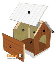 Small dog house plans, parts. Large Dog House Plans, Cat House Plans, Small Dog House, Small Dogs, Dog House Blueprints, Wood Dog House, Pallet Dog House, Build A Dog House, Dog House From Pallets