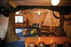 Love the idea of having the cover over the dramatic play area. Makes it a little bit more interesting for the kiddos! How fun!