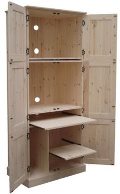 Solid Pine Desk, Triple Computer Hideaway Desk, Workstation, Bureau Cupboard ITW | eBay