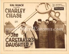 Original 1925 Title Lobby Card for Hal Roach's silent comedy, THE CARETAKER'S DAUGHTER, starring Charley Chase.