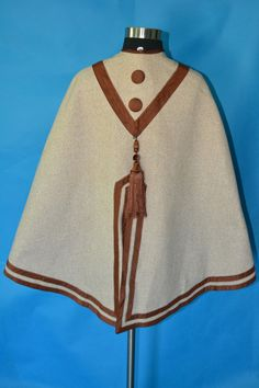 "Fetching Antique 1860's Civil War Dress Mantle Cape Shawl Brown Wool Tassle | eBay vintgclothing; light weight tan wool, trimming cinnamon moire silk; faux matching silk buttons, front length: 23""; back: 30""; neck opening: abt 14"""