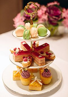 Afternoon Tea Delights - such a pretty display♥*¨*•.¸¸❥
