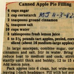 Canned Apple Pie Filling :: Historic Recipe
