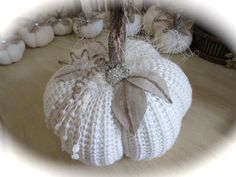 Shabby Chic Table Top Centerpiece. Great for your home decoration. Pumpkin measures 8 x 7,5 Fall, Autumn, Halloween and Thanksgiving Decor! Ready-to-ship