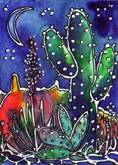 Cactus Painting, Cactus Art, Silk Painting, Batik Art, Desert Art, Southwest Art, Alcohol Ink Art, Mexican Art, Artist Art