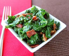 Sateed Kale & Bacon: crisp bacon. add kale and Sautee over medium heat, ~ 15 minutes.Toss w 2 tsp balsamic, s+p