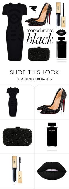 """blach is my happy color"" by sarra-d ❤ liked on Polyvore featuring Dolce&Gabbana, Christian Louboutin, Santi, Narciso Rodriguez, Yves Saint Laurent, Lime Crime and allblackoutfit"