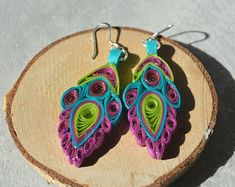 Sterling silver Lightweight colorful paper quilled earrings