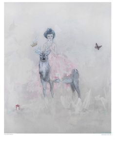 The Deer Rider - original painting  acrylic on canvas  by Adorn Atelier