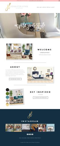 Squarespace design for jenniferlynninteriors.com. Branding and design by hellobigidea.com.
