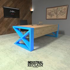 Modern desk with waterfall wood edge & POP of color! IndustrialReclaim.com