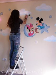 Creative Wall Painting, Wall Painting Decor, Kids Room Murals, Kids Room Wall Art, Baby Boy Room Decor, Baby Boy Rooms, Disney Baby Rooms, Decoration, House