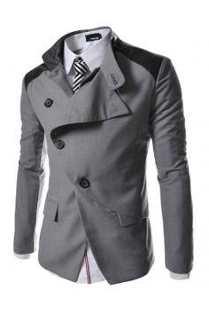 Gray Asymmetrical Button Jackets