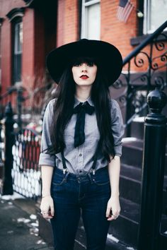 Outfit, tie, hat, makeup, hair!!! I love it!!!A repin of one of my favorite outfits I have ever seen here so far.
