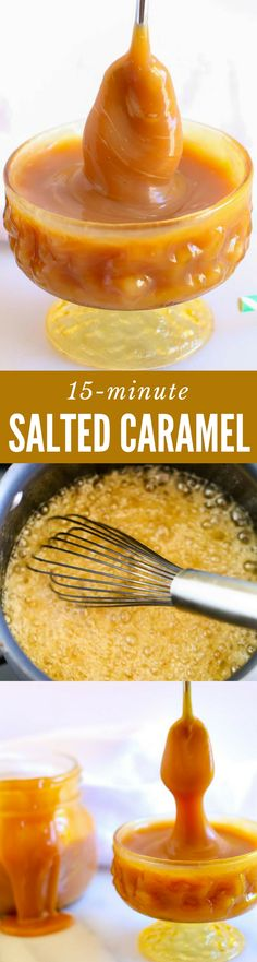 This is the scrumptious SALTED CARAMEL SAUCE RECIPE you've been searching for! Instructions for both thick and thin caramel sauce. Easy 15-minute recipe. So yummy! PIN FOR LATER...