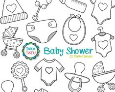 Baby Shower Digital Stamp Pack - Black and White Clipart / B.- Baby Shower Digital Stamp Pack – Black and White Clipart / Baby Clipart / Nursery Clipart / Kids Cli Baby Mehndi Design, Mehndi Art Designs, Clipart Baby, Doodle Baby, Moldes Para Baby Shower, Doodles, Baby Scrapbook, Digital Stamps, Baby Cards