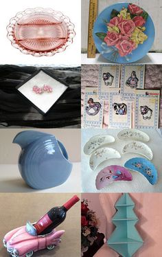 Pink and Blue from Vintage Vertigo Team by Southern Lady Estates on Etsy--Pinned with TreasuryPin.com