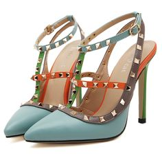 High Heel Sandals Real Medium(b,m) Sapato Feminino Summer Shoes 2015 Summer New Fashion Spell Color With Two Cross-pointed Heels