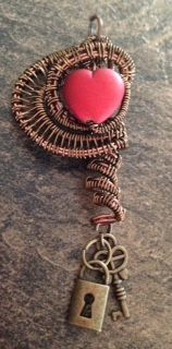 Lu Mae Jewelry Designs: Copper Wire Wrapped Heart Pendent