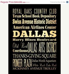 ON SALE Dallas Texas Typography Art Poster / Bus by LegacyHouseArt, $39.95