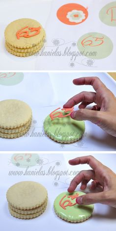 Haniela's: ~Coral, Green and Ivory Birthday Cookies~