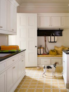 mudroom - yellow tile floor, bench with cushion and pillows Yellow Tile, Mudroom Laundry Room, Driven By Decor, New England Homes, House And Home Magazine, Mellow Yellow, Mustard Yellow, Built Ins, House Design