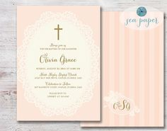 Baptism Invitation for a Girl. Christening, First Communion, or Dedication DIY Printable: Rustic, Shabby Chic Pink & Gold with a Cream Lace
