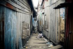 Entrance to the slums of Phnom Penh, Cambodia