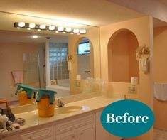 """You don't have to settle for a bathroom with """"character."""" 😅 Your home deserves a bathroom that makes you feel refreshed and new! Bathroom Renovations, Bathrooms, Custom Cabinets, Cabinet Design, Sink, Mirror, Character, Furniture, Home Decor"""