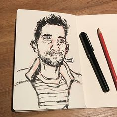 Portrait practice. I'm no @beyelerdominic yet though   #sketchbook #inks #messylines #dominicbeyelerdoesitbetter #art #selfportrait #brushpen
