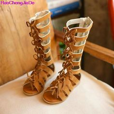 bc981ba12e46 HaoChengJiaDe Leather Summer Girls Gladiator Sandals Boots High top Fashion  kids Sandals Toddler Baby Sandals 062A-in Sandals from Mother   Kids on ...