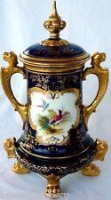 Antique Victorian Coalport Pot & Cover Handpainted Cobalt Blue Birds 19C (#1189)