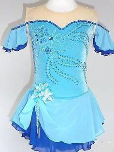 LOVELY CUSTOM MADE TO FIT FIGURE ICE SKATING DRESS