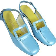 Vintage Fashion Powder Blue Slingback Heels By Charm Step - 60s Shoes, Shoes Ads, Sock Shoes, Shoe Boots, Sixties Fashion, Mod Fashion, Vintage Fashion, Vintage Style, Vintage Boots