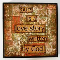 Encouraging Christian love art, A Love Story, original mixed media | StudioJRU - Mixed Media on ArtFire
