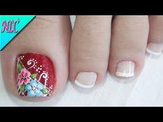 DISEÑO DE UÑAS PARA PIES FLORES - COMO PINTAR FLORES FÁCIL - FLOWERS NAIL ART - NLC - YouTube Cute Pedicure Designs, Toe Nail Designs, Nails Design, Toe Nail Art, Toe Nails, Acrylic Nails, Video Game Decor, Cute Pedicures, Colorful Nail Designs