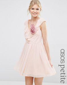 Image 1 ofASOS PETITE Ruffle V Front Mini Dress With Corsage