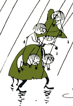 Snufkin and several Woodies - from the Moomin books by Tove Jansson Tove Jansson, Moomin Valley, Bd Comics, Little My, Children's Book Illustration, Book Characters, Childrens Books, Fairy Tales, Totoro